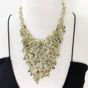 Kenneth Cole Gold Chain Crystal Bib Necklace